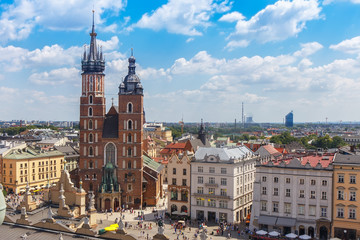 Autocollant pour porte Cracovie .View of the mariacki church and the roof of the building sukiennice from the height of the town hall building in the Polish city of Krakow.