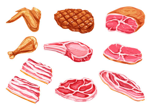 Vector meat products watercolor paint icons