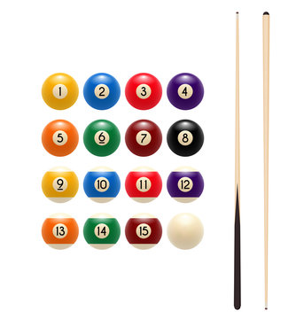 Pool billiards balls and cue vector game icon
