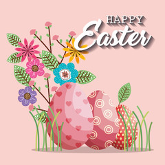 basket with eggs paint easter card vector illustration design