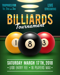 Pool billiards vector tournament poster