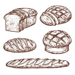 Vector sketch bread icons of bakery shop