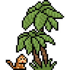 vector pixel art monkey palm tree