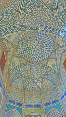 Interior decors of old madraseh in Isfahan, Iran