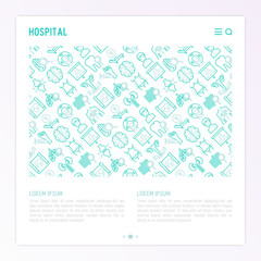Hospital concept with thin line icons for doctor's notation: neurologist, gastroenterologist, manual therapy, ophtalmologist, cardiology, allergist, dermatologist, dentist. Vector illustration.