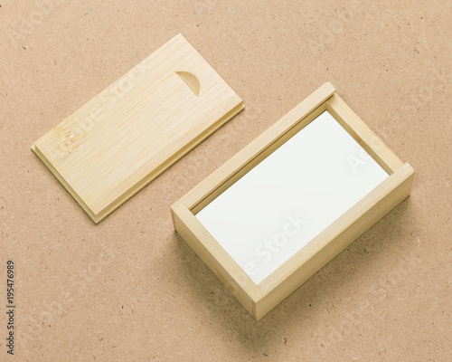 Small Wooden Box On Brown Texture Background Template Of Wood