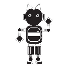 cartoon robot girl icon over white background black and white design  illustration