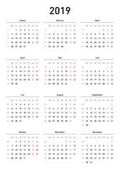 Kalendervorlage 2019, einfach, Hochformat, Feiertage Deutschland