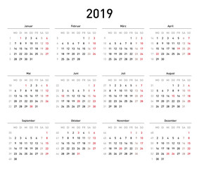 Kalendervorlage 2019, einfach, Querformat, Feiertage Deutschland