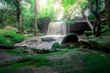 Landscape photo,Waterfall in Phu kradueng national park, beautiful waterfall in Thailand