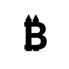 Bitcoin sign icon for internet money. Crypto currency symbol and coin image for using in web projects or mobile applications. Blockchain based secure cryptocurrency.