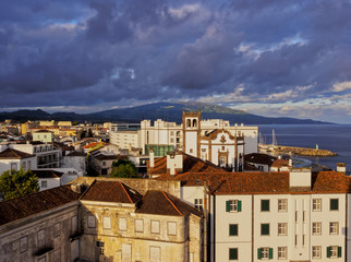 Ponta Delgada at sunset, elevated view, Sao Miguel Island, Azores, Portugal, Atlantic, Europe