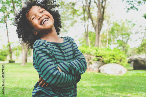 Child Boy Happy And Laugh Hair Style Afro Relax In Weekend Holiday