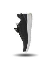 Black running shoe isolated on white background.
