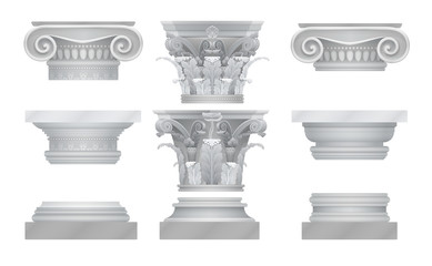 Vector realistic ancient greek roma column capitals set.