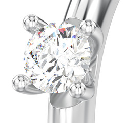 3D illustration isolated close up white gold or silver traditional solitaire engagement diamond ring