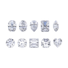 3D illustration isolates ten different white gemstones diamonds