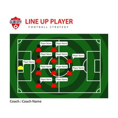Line Up Player Vector Template Design