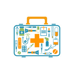 First aid kit box concept medical equipment and medications. Logo healthcare.Illustration