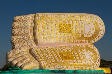 Decorative feet of the reclining Buddha of Bagan (Pagan), Myanmar (Burma), Asia