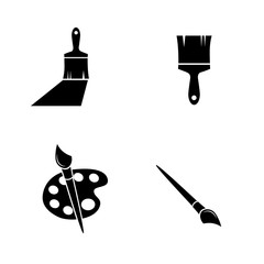 Paint brush vector icon set.