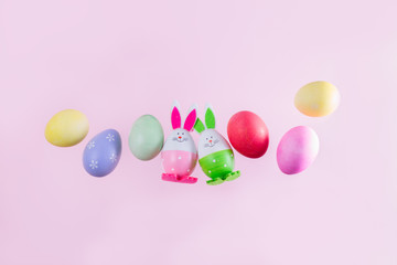Easter scene with colored eggs