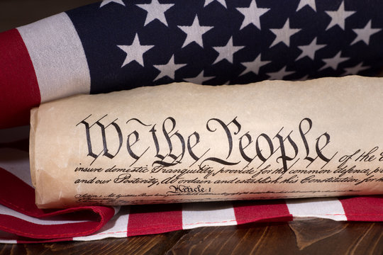 Preamble to the United States Constitution and the American flag