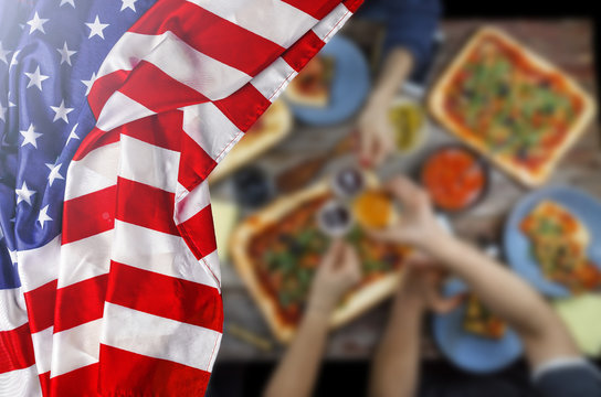American flag, Independence Day, barbecue, Celebration, outdoors