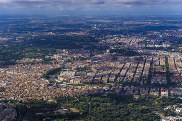 Aerial day view of city center around Tiber River and The Vatican with St. Peter's Basilica, Rome, Lazio, Italy, Europe