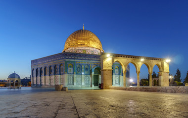 Dome of the Rock Mosque and Dome of the Chain in Jerusalem, Israel