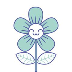 beautiful flower cute kawaii cartoon vector illustration green design