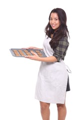 Asian woman with cookies