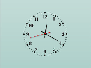 Wall clock office. Template design in vector closeup. The layout for branding and advertising isolated.Beautiful and original timer on a transparent background. Element vector design