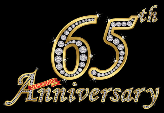 Celebrating  65th anniversary golden sign with diamonds, vector illustration