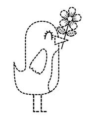 cartoon cute bird with flower in beak vector illustration dotted line