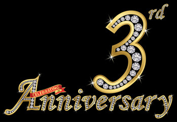 Celebrating  3rd anniversary golden sign with diamonds, vector illustration