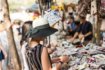 woman traveling and shopping