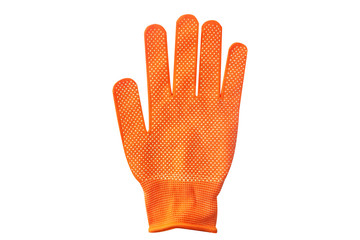 Orange glove with white spots