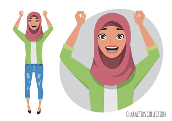 Arab women character is happy and smiling. Muslim young woman wearing hijab.