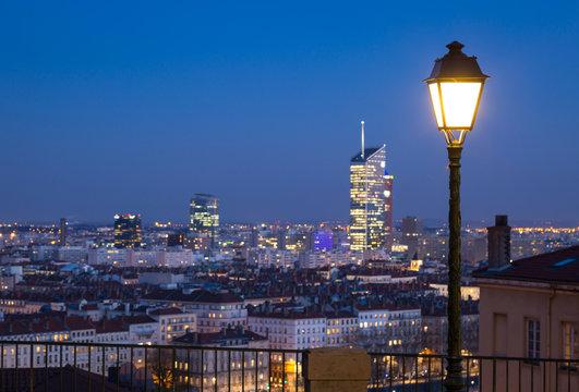 Twilight over the 6e arrondissement in Lyon, France.