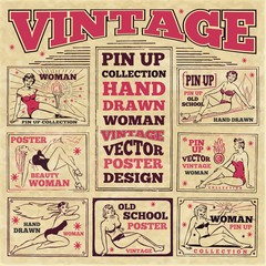 Vintage pin up girls hand drawn poster designs