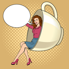 Beauty young woman in coffee cup pop art vector