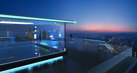 3D rendering of a modern glass balcony with city skyline real photography background , early morning scene . Mixed media .