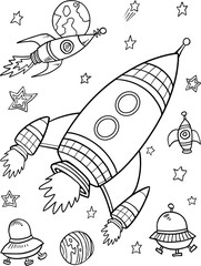 Stores à enrouleur Cartoon draw Cute Rockets Space Vector Illustration Art