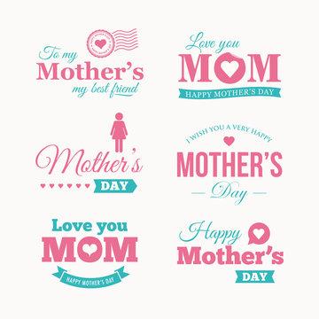Happy mothers day logo set. Editable vector design.