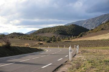 road in mediterranean landscape  in Fenouilledes,  Pyrenees orientales in south of France