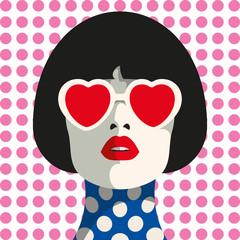 Stylish woman with heart glasses and bob haircut. Seamless geometric pattern. Dot pattern.
