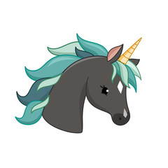 Unicorn vector icon isolated on white. Head portrait horse sticker, patch badge. Cute magic cartoon fantasy cute animal.