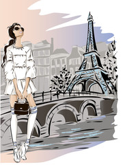 Wall Mural - Fashion woman near Eiffel tower in Paris, fashion banner with text template, online shopping social media ads with beautiful girl. Vector illustration