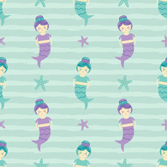Cute seamless pattern background with mermaid girls and sea stars.